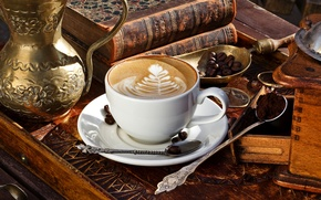 Picture foam, pattern, books, coffee, grain, Cup, drink, cappuccino, saucer, locker, blade, spoon, ground, latte art