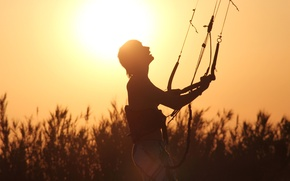 Wallpaper the sun, shadow, silhouette, parachute, male, guy