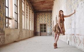 Picture look, girl, room, Windows, dress, the door, red, brown hair