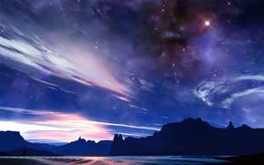 Picture the sky, light, rocks