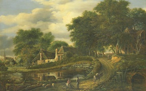 Picture road, trees, bridge, house, river, picture, LANDSCAPE, Julien Joseph Ducorron