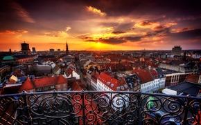Picture sunset, the city, building, home, the evening, Denmark, panorama, Copenhagen, Copenhagen, Danmark, Copenhagen