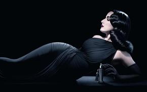 Picture girl, model, makeup, brunette, bottle, black dress, perfume, Date von Teese