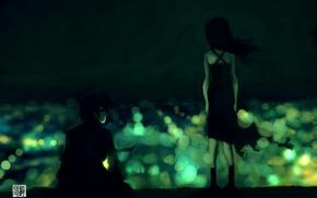 Wallpaper girl, lights, green, guy