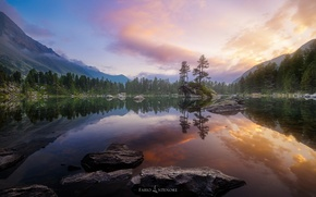 Picture forest, the sky, reflection, nature, lake, rocks
