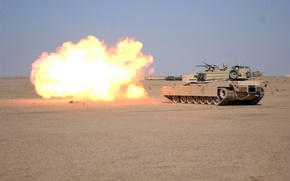 Wallpaper weapons, fire, flame, Wallpaper, desert, shot, tank, wallpaper, gun, M1A1, Abrams, Abrams, firing, main