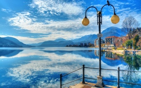 Picture the sky, clouds, mountains, lake, house, reflection, lantern, Italy, lake orta, Omegna, Orta