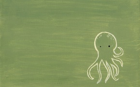 Wallpaper octopus, figure, green