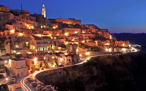 Picture city, lights, Italy, sunset, evening, street, houses, Matera