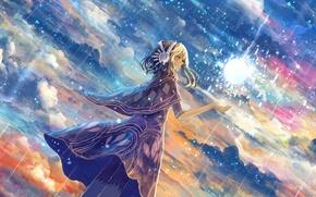 Picture the sky, girl, clouds, rain, magic, anime, art, bounin