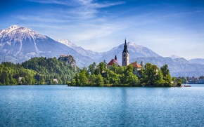 Picture mountains, reflection, home, Slovenia, blue sky, Lake Bled