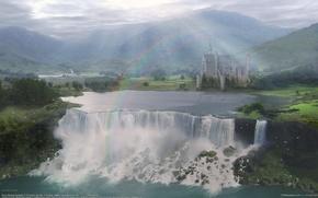 Picture landscape, castle, waterfall, rainbow, valley, ricardo garces