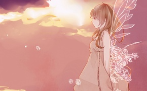 Picture the sky, girl, clouds, flowers, wings, anime, art, sekiyu