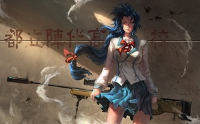 Wallpaper girl, wall, anime, shadows, girl, wall, schoolgirl, character, school uniform, school uniform, anime, blue hair, ...