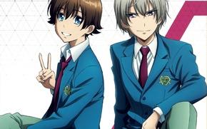 Picture blue eyes, two, students, kakumeiki valvrave, l-elf karlstein, haruto tokishima