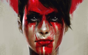 Picture look, face, blood, art, metal gear solid, The Phantom Pain, Quiet, Metal Gear Solid V: …