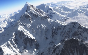 Picture snow, mountains, tops, view, height, art, ridge