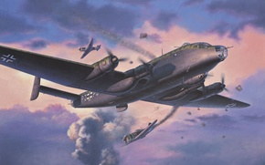 Picture the sky, war, fighter, bomber, Art, Shop, La-7, scout, German, Junkers, Junkers, four-engine, Soviet, piston, …
