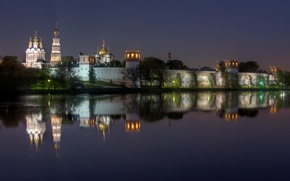 Picture wall, reflection, tower, dome, Russia, lights, the monastery, night, Moscow, Novodevichy Convent, river