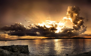 Picture mountains, types, panorama, sea, wave, water, the ocean, the sky, horizon, beauty, stones, sunset