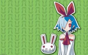 Picture rabbit, red eyes, blue hair, green background, disgaea, pleinair, by takehito harada