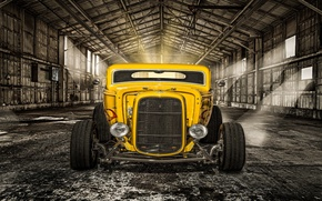 Picture yellow, retro, lights, hangar, classic, the front, hot-rod, classic car