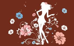 Wallpaper girl, flowers, mood