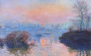 Wallpaper Claude Monet, picture, Sunset on the Seine in Lavacore. Winter Effect, landscape