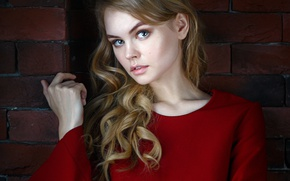 Picture look, girl, sweetheart, model, hair, portrait, lips, beautiful, cute, brick wall, Rus, Anastasia Shcheglova