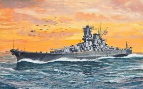 Picture ship, Navy, battleship, WW2, art., linear, Japanese, Yamato, fleet, Imperial
