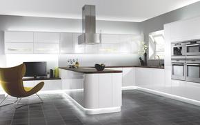 Picture design, house, style, room, interior, kitchen, white minimalist kitchen with modern cabinet