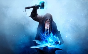 Picture metal, sword, magic, gloves, hammer, dwarf, beard, blue particles, tongs, blue fire, layer, blacksmith, anvil