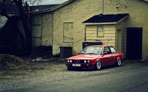 Picture red, BMW, BMW, red, E30, The 3 series, frontside
