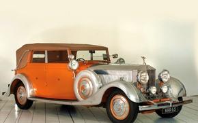 Picture Rolls-Royce, Orange, Car, Classic, Headlights, Luxury Classic Car, RAR 65