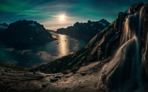 Picture sunset, mountains, lake, height