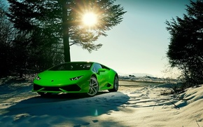 Picture Lamborghini, Sky, Green, Front, Sun, Color, Snow, Beauty, Supercar, 2015, Huracan, Ligth, LP640-4