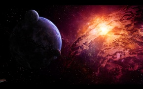 Picture stars, nebula, planet, asteroids, satellites, nebula