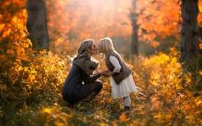 Picture autumn, forest, kiss, girl, mom, Autumn, daughter