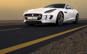 Picture Jaguar, Car, Dubai, White, Sand, Sport, Luxury, F-Type, Dunes