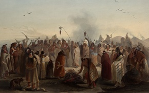 Picture picture, painting, painting, Karl Bodmer, Bodmer, Scalp Dance of the Minatarres - Awesome St, 1836