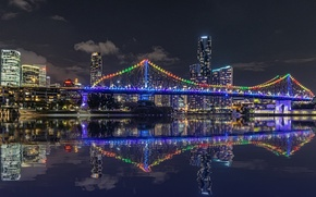 Picture night, lights, reflection, river, skyscrapers, backlight, Australia, megapolis, Brisbane, QLD, Story-bridge
