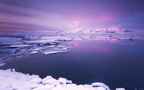 Picture Light, Clouds, Sky, Purple, Landscape, Snow, View, Nice, Shot, Lagoon Glacier
