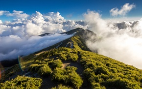 Picture sky, cloud, mountain, path