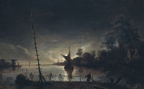 Picture night, boat, picture, sail, Anton van Borssum, Landscape in the Moonlight