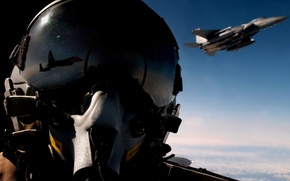 Wallpaper air, in the sky, reflection, pilot, the plane, fighter, helmet