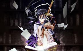 Picture weapons, sword, katana, book, library, yami to boushi to hon no tabibito, azuma hazuki