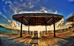 Wallpaper tropics, shore, cafe, canopy