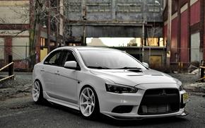Picture Mitsubishi, white, tuning, lancer, evolution