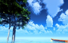 Picture the sky, trees, lake, boat, and-k