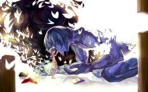 Picture birds, books, anime, art, guy, magi the labyrinth of magic, ugo, aladdin, rifsom